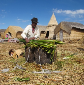 An elder man demonstrates the island construction process